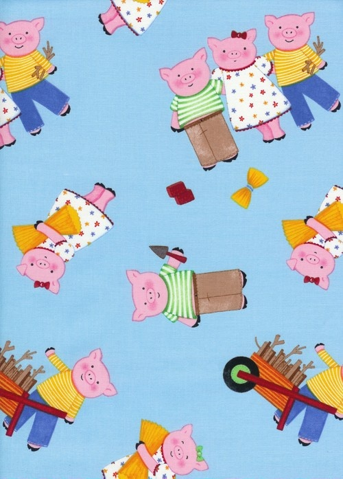 "Blue Tossed Pigs Fabric by Kate Hanarvar for Timeless Treasures HUFF and PUFF Last 25""  SALE. $4.50, via Etsy."