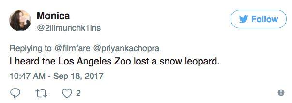 """Seperti harimau bintang salji! Peminat troll Priyanka Chopra  KEMUNCULAN pelakon terkenal Bollywood Priyanka Chopra di karpet merah Anugerah Emmy setiap tahun sentiasa dinanti-nantikan.  Namun tuah tidak menyebelahi pelakon filem Baywatch itu apabila gaun yang dipakainya untuk Anugerah Emmy semalam disamakan dengan harimau bintang salji.  """"Dengarnya ada harimau bintang salji di Los Angeles"""" tulis salah seorang pengguna Twitter.  Malah ada yang menyamakan gaun labuh meleret Priyanka yang…"""