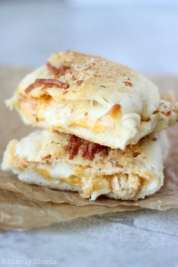 Buffalo Chicken Alfredo Pizza Pockets with SimplyGloria.com #homemade #pizza #dough