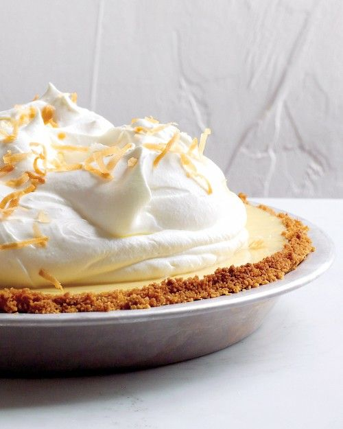 Coconut-Key Lime Pie  A classic Key lime pie gets upgraded for the holidays with coconut milk in the filling. If that wasn't enough, the dessert is gilded with toasted coconut.  THIS CAN BE MADE IN CUPS with or without crust (or simplhy bake a crust and break placing a large shard in the topping for flair! - after all it is a pudding in pie crust!!!!