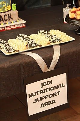 More food ideas and some indoor games. I love the sign - Jedi Nutritional Support Area.   Star ...