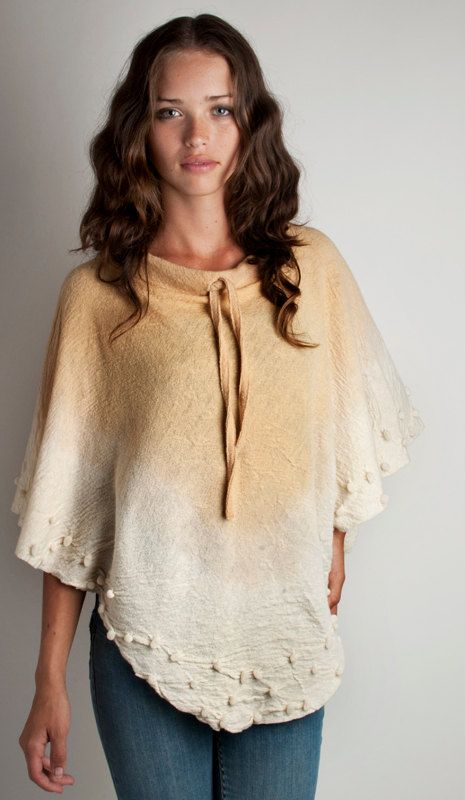 Knit Poncho wool felt with volumes gradient honey gold and beige hand dyed…