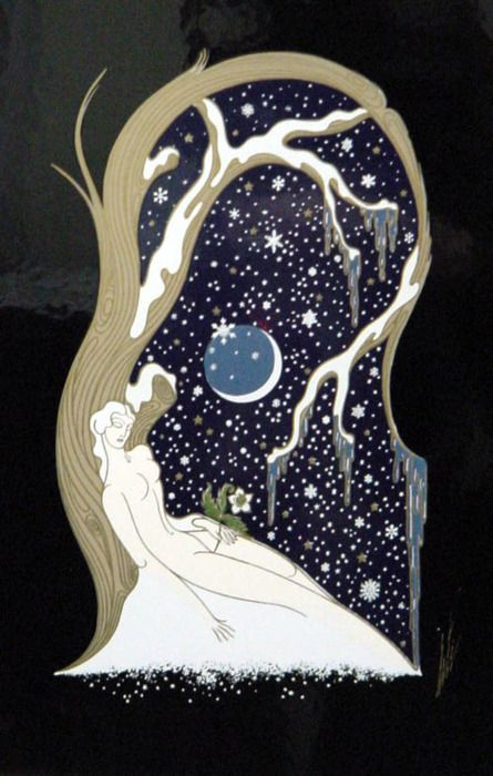 ERTE: Winter, Erte is on of my favorite fashion illustrators, and a great Art Deco artist.