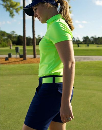 JoFit Ladies Golf Outfits (Shirt & Shorts) - Kona (Neon Green & Blue Depth)