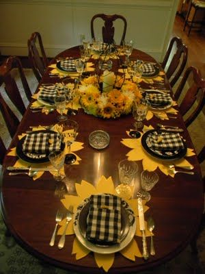 A Toile Tale Black And Yellow With Sunflowers Table