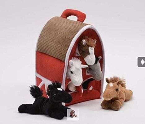 Plush Horse Barn with Horses – Five (5) Stuffed Animal Horses in Play Carrying Barn Case #deals