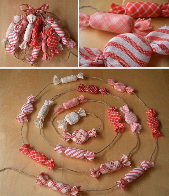 Fabric peppermint garland from (Laurraine Yuyama on flickr)