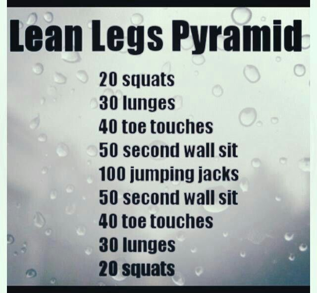 Lean Leg Pyramid. Pinned on behalf of Pink Pad, the women's health mobile app with the built-in community