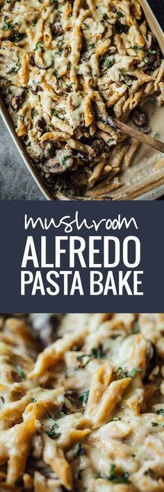 Healthy Mushroom Alfredo Pasta Bake - A rustic comfort food with creamy cauliflower sauce. 350 calories.