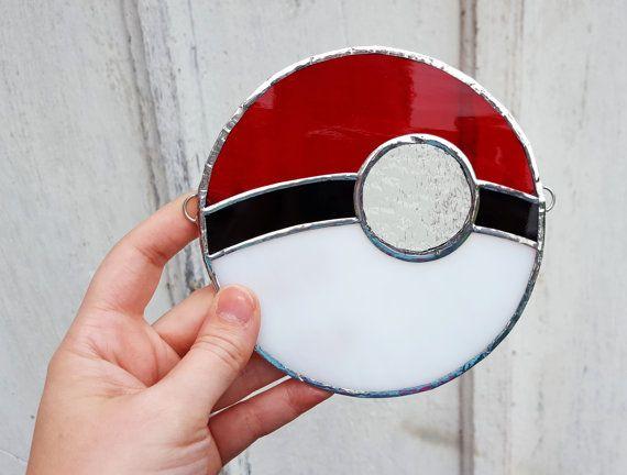 Pokemon Go Pokeball Stained Glass Suncatcher Nerd Gift Pikachu Nintendo