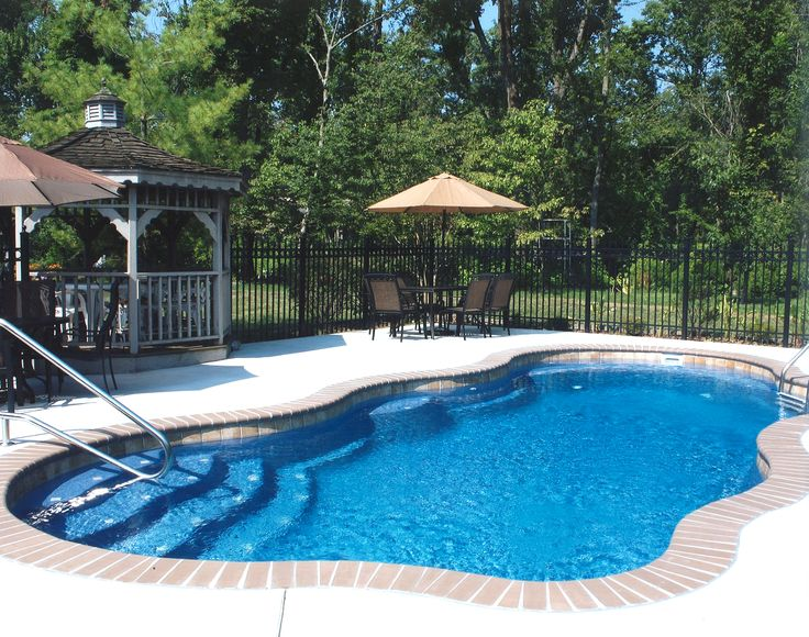 Pictures Of Fiberglass Pools Fiberglass Pool With Water Line Tile And Brick Coping Pool