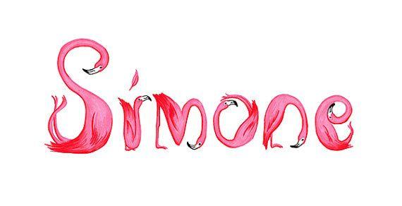 Nombre de niño de flamencos rosados por AmelieLegault en Etsy