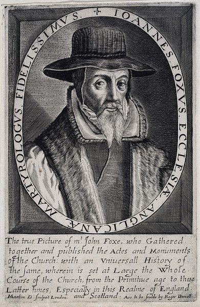 John Foxe, c. 1623-1630. Like Shakespeare's portrait, this image was engraved after the subject's death (in this case, much later: Foxe died in 1587).