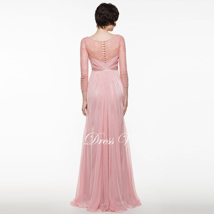Dressv bright dark pink lace mother of the bride dress A line long sleeves beading wedding. Click visit to buy #WeddingPartyDress #wedding #party #dress