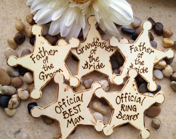Set of 6 Wedding Gifts for Men Father of Bride and Groom Grandfather Nephew Ring Bearer Best Man Groomsman Usher Rustic Wedding Badges by PrinceWhitaker on Etsy https://www.etsy.com/listing/91950107/set-of-6-wedding-gifts-for-men-father-of