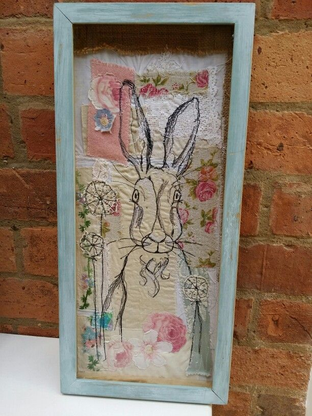 Freemotion embroidery textile art. Hare by Emily Henson https://m.facebook.com/bibliboo