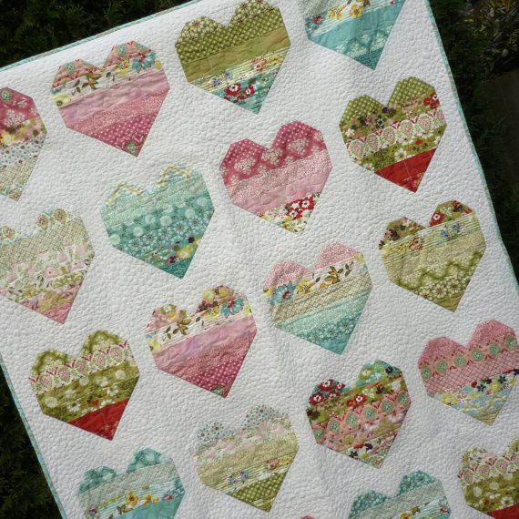 PDF Quilt Pattern for Jelly Rolls - Baby Lap Twin Queen King sizes - Take Heart