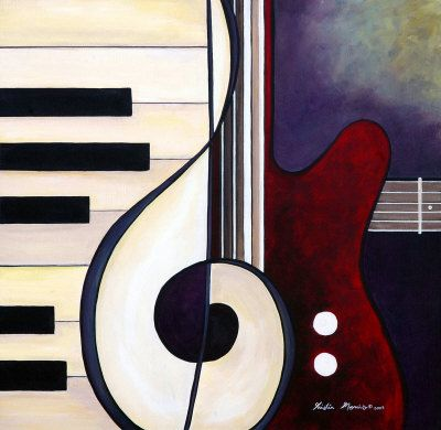 Kristin Morris: Musical Pieces - Guitar Piano Duet Painting at ArtistRising.com