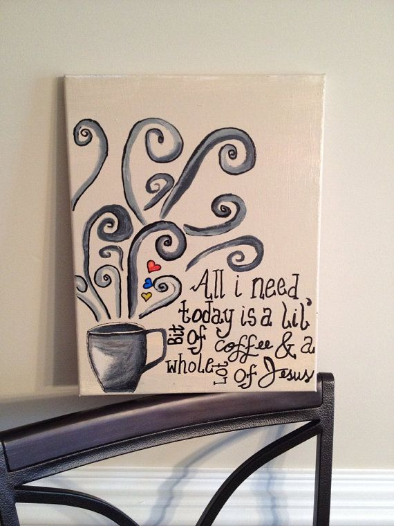 Christian Art canvas quote little bit of coffee and a whole lot of Jesus on Etsy, $10.00
