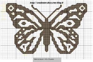 Grille de broderie : petit papillon monochrome