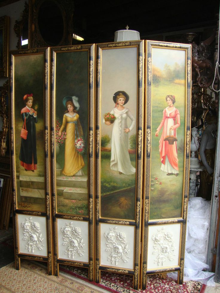 Hand painted victorian style folding screen room divider for Painted screens room dividers