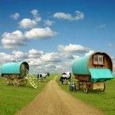 caravane : Vieux Wagons de caravanes, remorques, Gypsy avec des chevaux Banque d'images