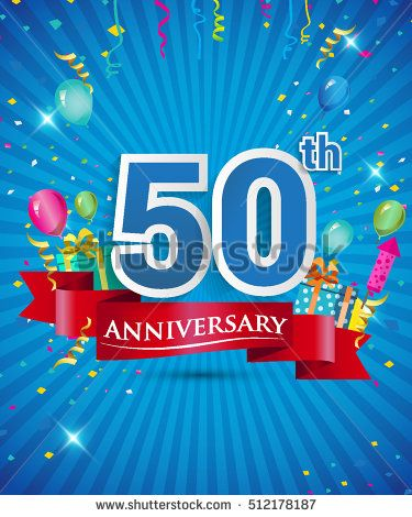 Celebrating 50 years Anniversary logo, with confetti and balloons, red ribbon, Colorful Vector design template elements for your invitation card, flyer, banner and poster.