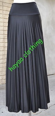 NWT HAYAA Pleated Long Maxi Skirt Banded Waist - Black - S, M, L, XL, 2XL, 3XL: Hayaa Pleated, Black Pleated, Waist Black, Pleated Long, Ripple Pleated, 2Xl 3Xl, Skirts Bands, Bands Waist, Long Maxi Skirts