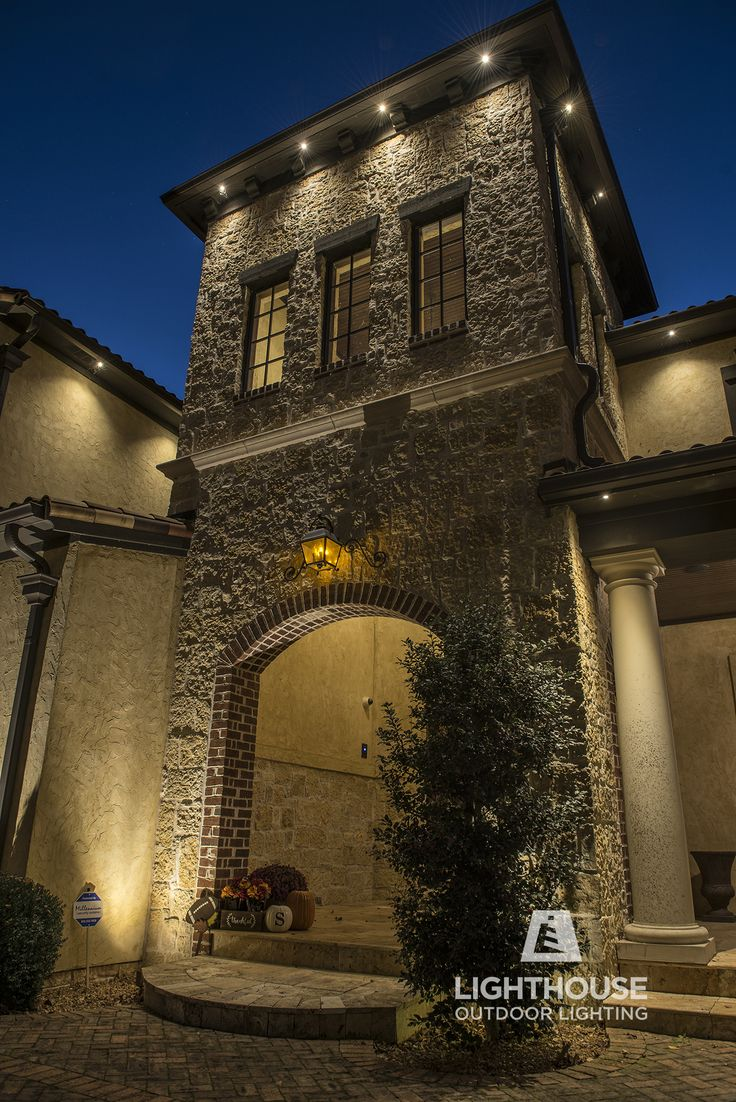 mediterranean outdoor lighting. Low Voltage, Recessed Lighting Was Designed To Illuminate The Stone And Wall Details Of Entry Tower This Spanish Mediterranean Home- Architectural Outdoor O