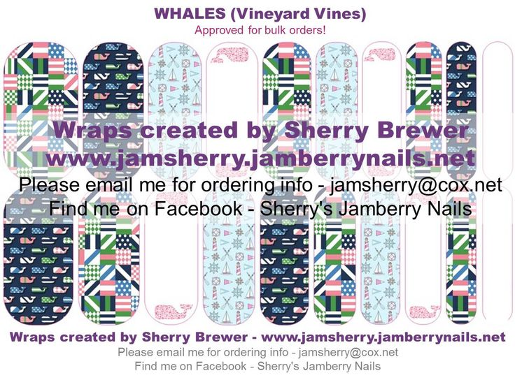 Whales ( Vineyard Vines Inspired ) Custom Jamberry Nail Art Design by Sherry Brewer Order at: http://natalieshirilla.jamberrynails.net/party/?uid=86bc9c0b-4109-41b6-868e-804d22bafe2f