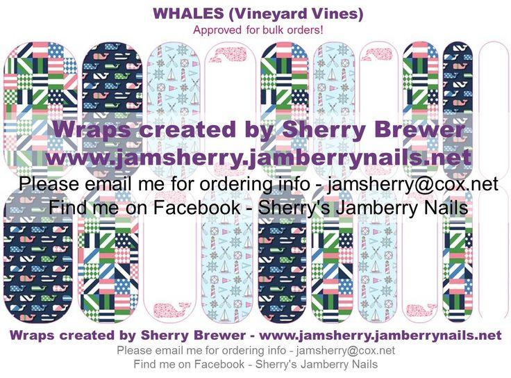 Whales ( Vineyard Vines Inspired ) Custom Jamberry Nail Art Design by Sherry Brewer Order at: http://natalieshirilla.jamberrynails.net/party/?uid=86bc9c0b-4109-41b6-868e-804d22bafe2f
