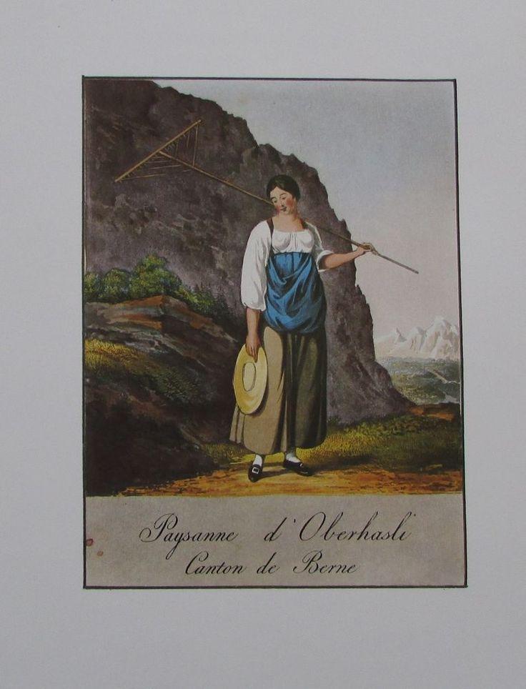 MÄHERIN AUS DEM OBERHASLI Reinhardt Nachdruck print Schweiz Trachten Kanton Bern