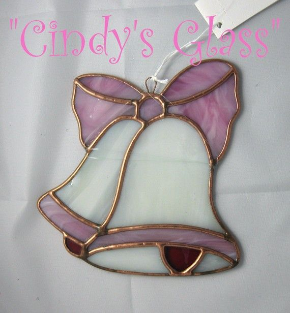 "Stained Glass Pink Wedding Bells by CindysGlass on Etsy  This is a completely handmade stained glass wedding bells. The perfect and unusual gift to give to the happy couple for their wedding or anniversary. The size is approximately 5 1/4"" x 5 51/2""."