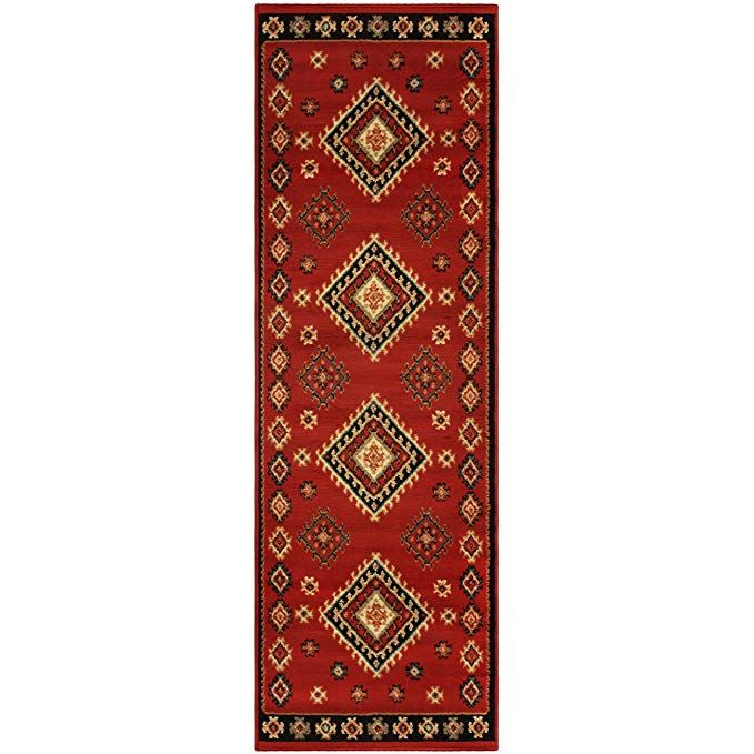Superior Santa Fe Collection 2 7 X 8 Runner Rug Attractive Rug With Jute Backing Durable And Beautiful Woven Structure Bright Red Area Rug Area Rugs Rugs