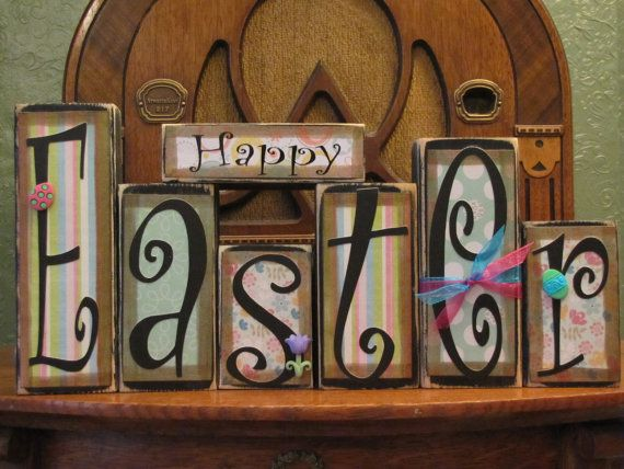 Easter Sign  Happy Easter Word Blocks by PunkinSeedProduction, $42.00