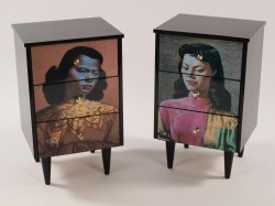 Great furniture from Old School Industries. Tretchikoff Bedside Drawer $450/650 How timeless are the artworks of Vladimir Tretchikoff? How great do they look when they are situated on a set of drawers! You can order your very own set of Tretchikoff drawers, with either a bespoke salvaged timber under structure or with original cabinet legs..