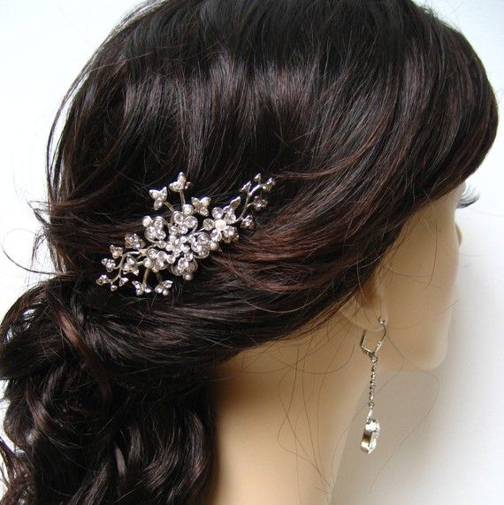 Bridal Wedding Hair Comb White Gold with by sparklybitsjewels, $79.00