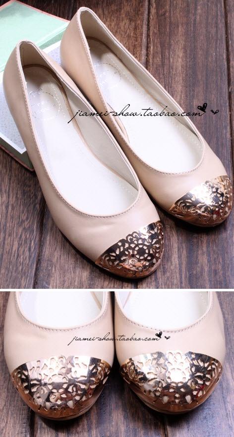 金簍雕花是女孩優雅的武裝    淘寶 taobao金屬頭鏤空花朵圓頭平底鞋