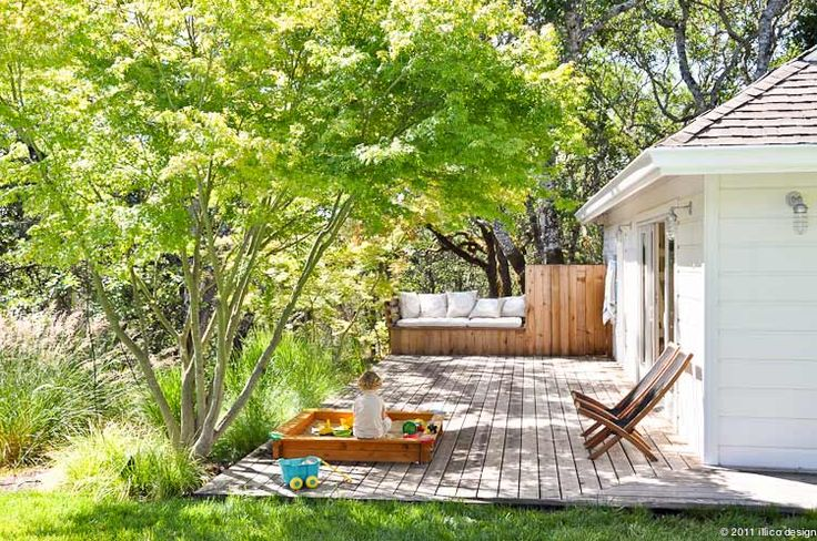somewhat illustrates the 'feel' of your backyard in that it shows deck to terrace to wildness.