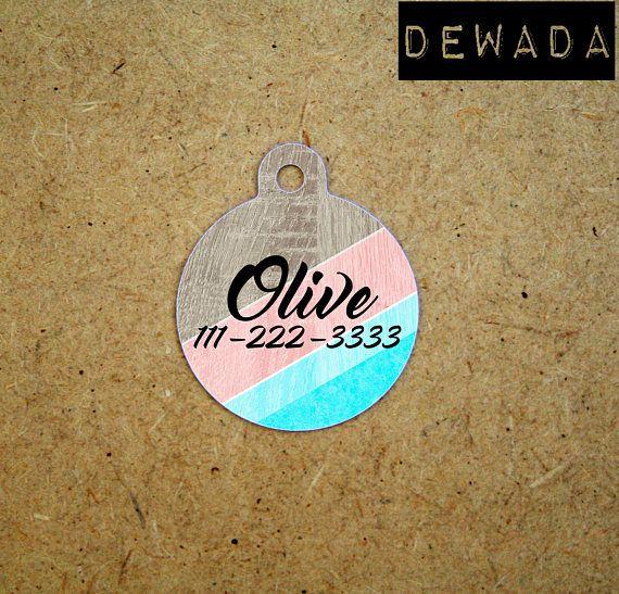 Custom Pet Tag Geometric wood print - pink blue