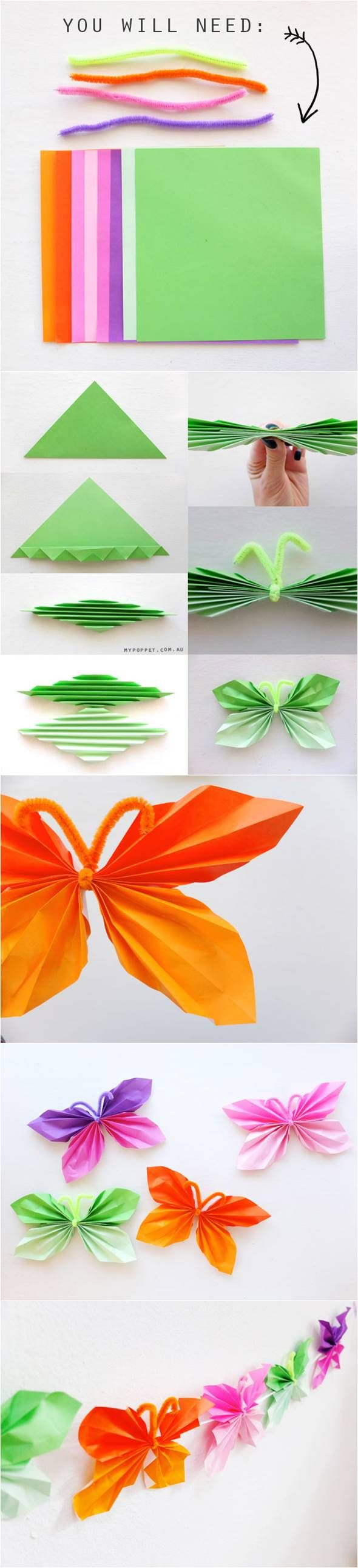 How To Fold Easy Paper Butterflies #craft #decor #paper #butterfly