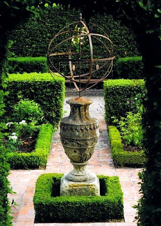 ,,,Gardens Ideas, British House, Provence Gardens, Side Yards, Armillary Sphere, Formal Gardens, Focal Point, French Gardens, Flower Plants