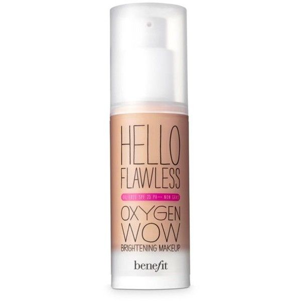 Benefit Cosmetics  Hello Flawless Oxygen Wow Spf 25 Liquid Foundation ($36) ❤ liked on Polyvore featuring beauty products, makeup, face makeup, foundation, benefit foundation, liquid foundation, moisturizing foundation, hydrating foundation and spf foundation