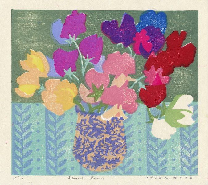 """Sweet Peas"" by Matthew Underwood (woodblock print)"