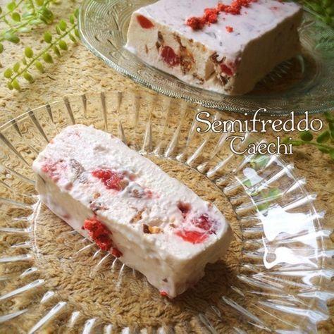 *いちごのセミフレッド* イタリアのチーズアイスクリーム