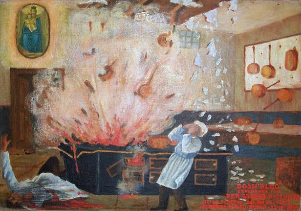 Альдо Босси благодарен за то, что выжил во время взрыва котла.  Отель «Eliseo». Рим, 22 октября 1929.