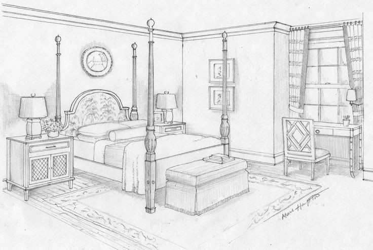 Dream bedroom sketch bedroom ideas pictures art - One point perspective living room sketch ...