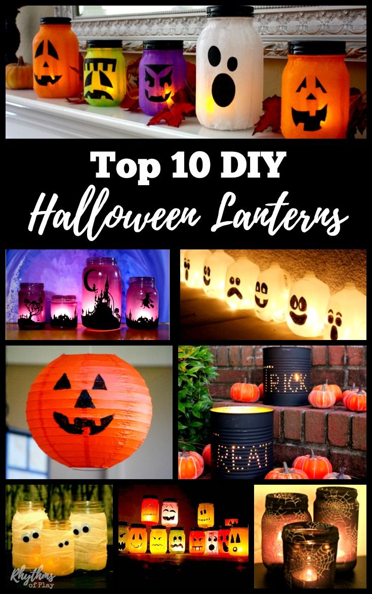 These awesome DIY Halloween lanterns are easy to make. They are a fun way to decorate your doorstep and windowsills for parties and Halloween night this fall. Most of them are upcycled crafts for both kids and adults. Milk jugs, coffee cans, paper, mason