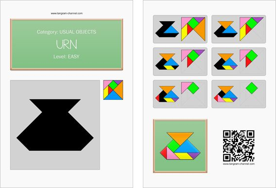 Tangram worksheet 241 : Urn - This worksheet is available for free download at http://www.tangram-channel.com