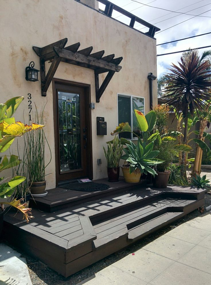 Open Porch Deck And Tiny Spanish Colonial Pergola Over